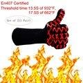 HOMEER Heat resistant long oven gloves BBQ Gloves, Microwave Glove ,Best for grilling&baking  EN407