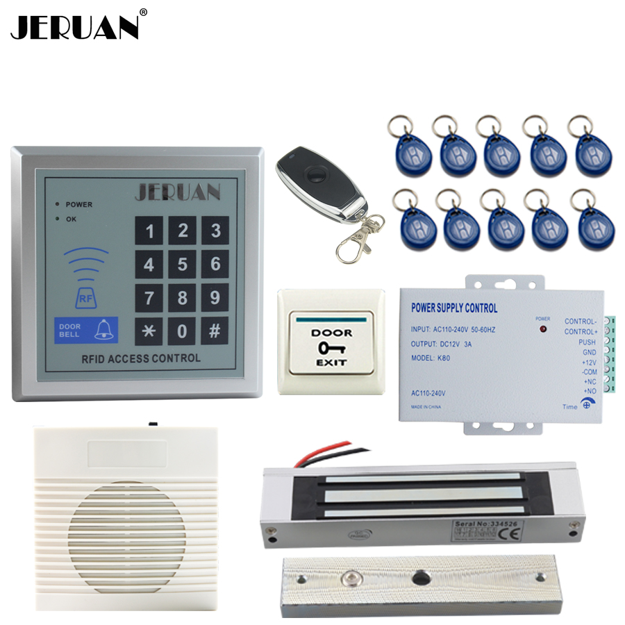 JERUAN  RFID Password Access Controller system kit+Speaker doorbell+Remote control+Exit Button+ Free shipping jeruan metal waterproof rfid password touch access controller system kit speaker doorbell remote control in stock free shipping