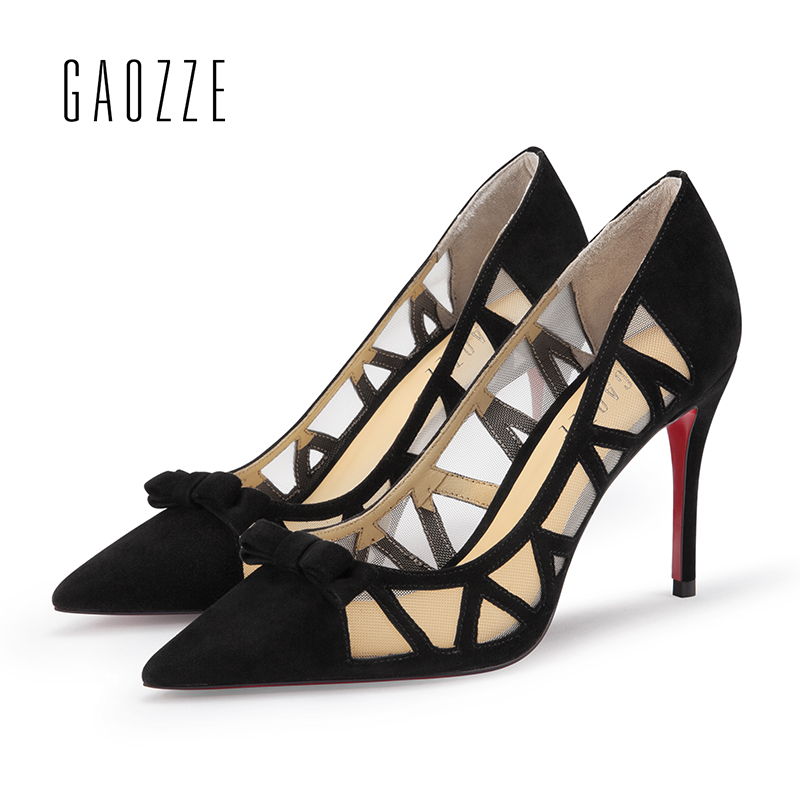 GAOZZE Lovely Bow-Knot Pointed Toe Stiletto High Heels Suede Leather Net Yarn Stitching Women Fashion Party Pumps Shoes 2018 New high quality suede wedding party dress shoes women pointed toe stiletto brand pumps bow fringe embellished high brands