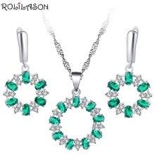 Серьги rolilason с зелеными кристаллами инкрустация ожерелье