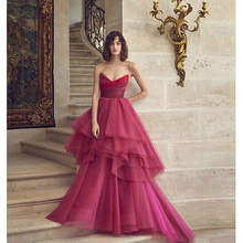 Verngo 2019 Rose Red Evening Dress Tulle Gown Elegant Formal Custom Made Tiered Party Robe De Soiree