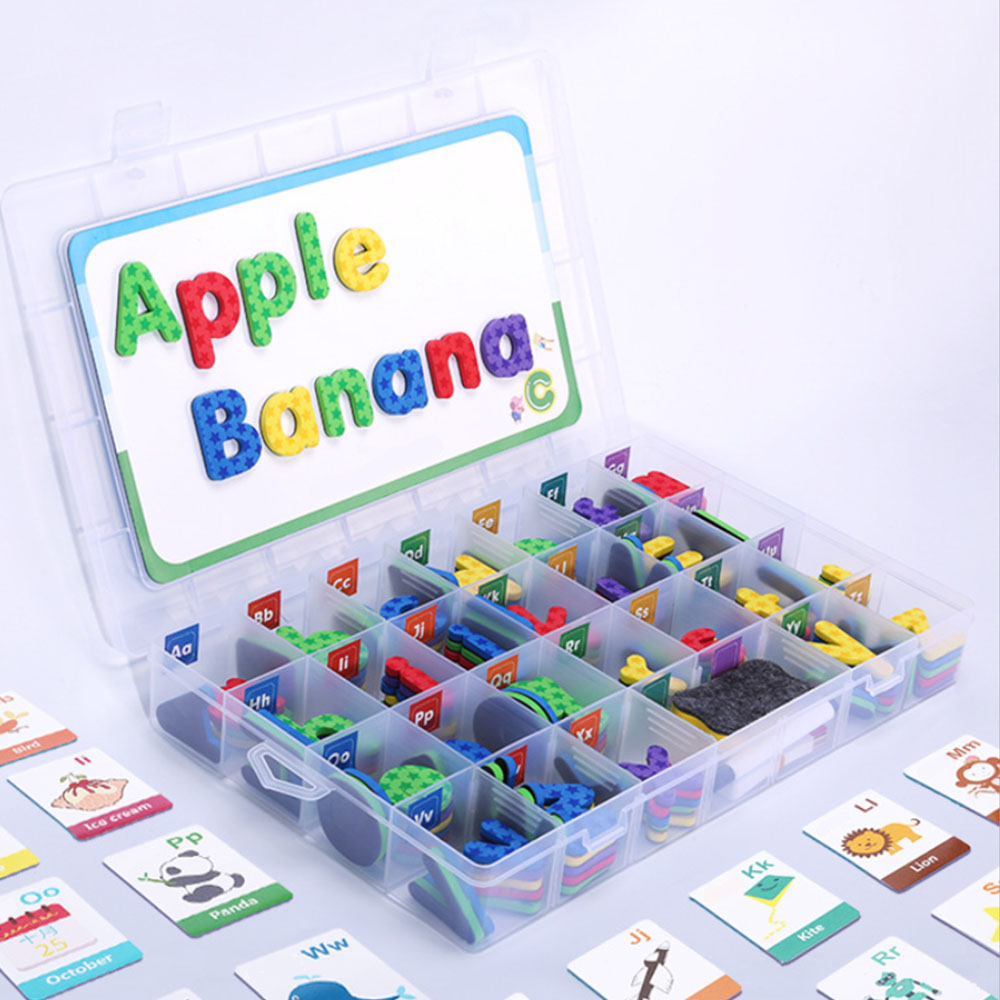 Kit de lettres en mousse magnétique Alphabets de classe avec tableau magnétique pour enfants orthographe et apprentissage jouets éducatifs de Puzzle