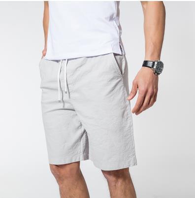 Мужские летние плюс Размеры эластичный пояс середине Повседневное Капри прямого кроя человек дышащий Лен свободные штаны Для мужчин более Размеры d обтягивающие брюки - Цвет: 5