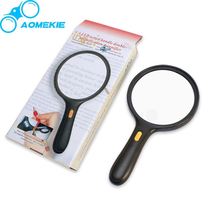 Large 5.5 inch Lens 3 LED Magnifier 1.8X 5X Double-magnification Magnifying Glass Handheld Newspaper Map Reading Aid Loupe