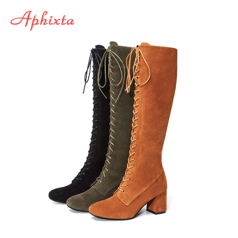 Aphixta Slim Boots Shoes Woman Sexy Lace-Up Over The Knee Thigh High Women Long Boots Short Plush Winter ladiesPlus Size 34-43 sexy thigh high flats women motorcycle boots lace up over the knee long celebrity woman boots shoes leather winter autumn shoes