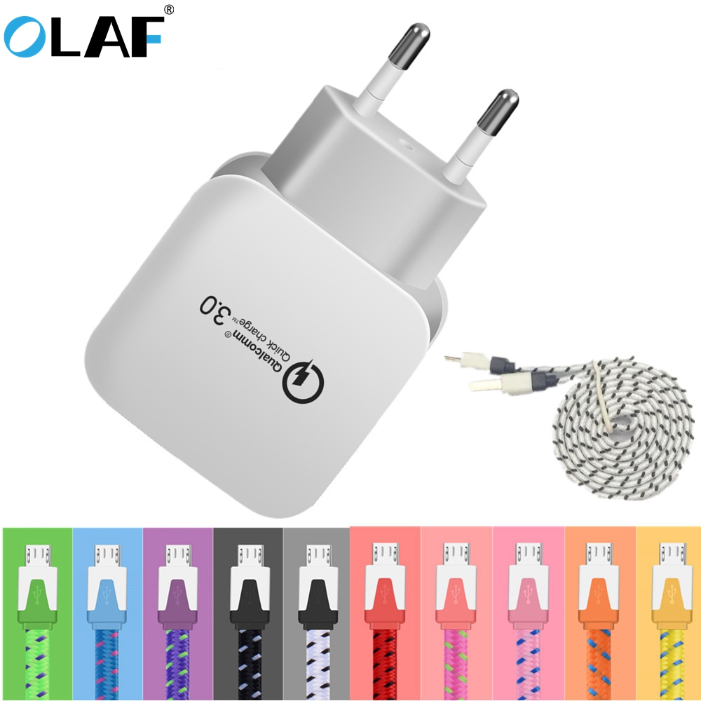 Olaf 18W Quick Charge 3.0 EU Plug Mobile Phone Charger Fast Wall USB Charger Adapter for Samsung Xiaomi 1m/2m/3m Micro USB Cable