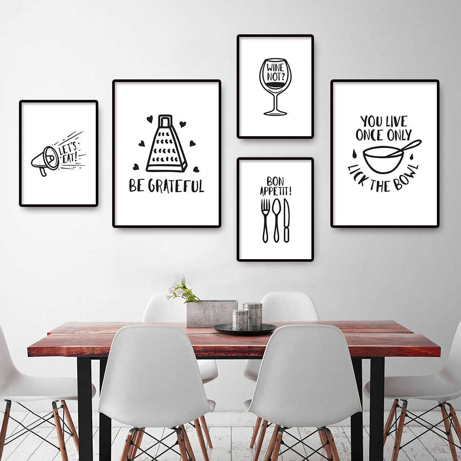 Minimalist Kitchen Posters And Prints Modern Black And White Wall Pictures Art Nordic Dining Room Canvas Painting Home Decor Painting Calligraphy Aliexpress
