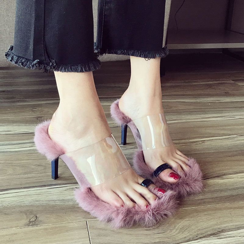 Real Rabbit Fur Spike Heels Summer Designer Fur Clip Toe -4572