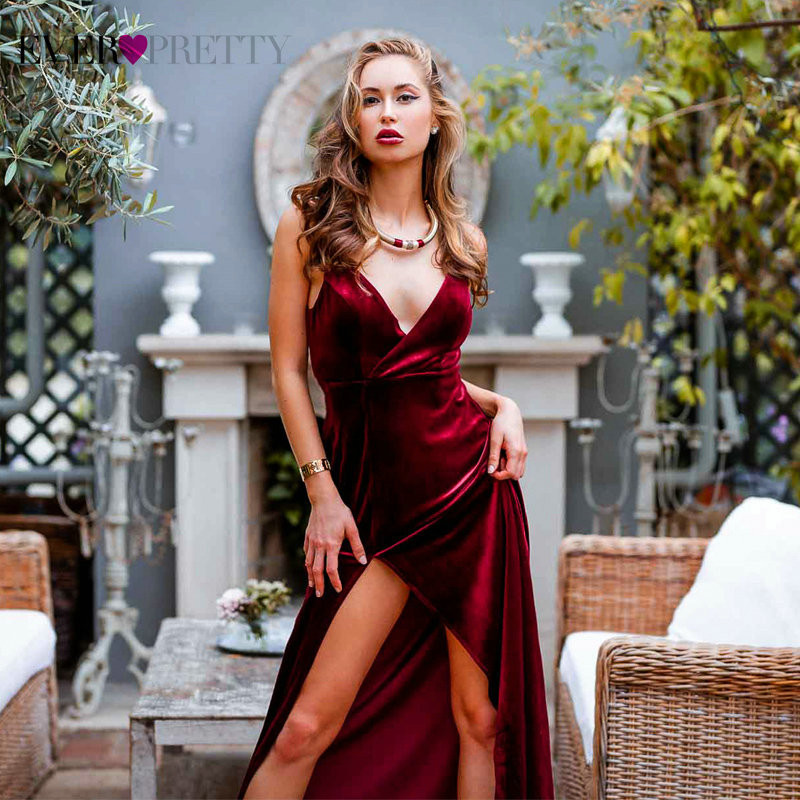 Velvet Winter Christmas Prom Dresses Ever Pretty Simple Burgundy A-line Leg Slit Sleeveless Sexy Formal Dress For Wedding Party