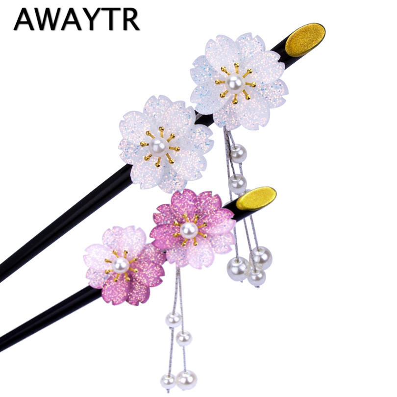 AWAYTR Hair Sticks Hairwear for Women Fashion Flower Simulation Pearls Dangle Hair Sticks Hair Pins for Girls Hair Jewelry