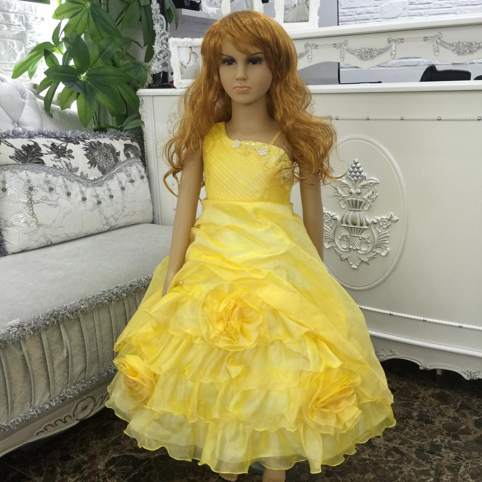 Free Shipping  4T-12T Child Party Dress With Bustle Mid Calf Pageant Ball Gowns 2018 New Yellow Flower Girl Dresses For Weddings 4pcs new for ball uff bes m18mg noc80b s04g