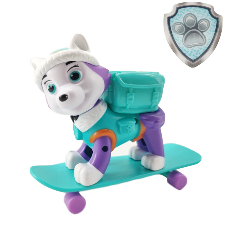 Paw Patrol Everest Skateboard Dog Puppies Patrol Rescue Toys PVC Anime Figure Action Model Doll Toys Kids Birthday Gift