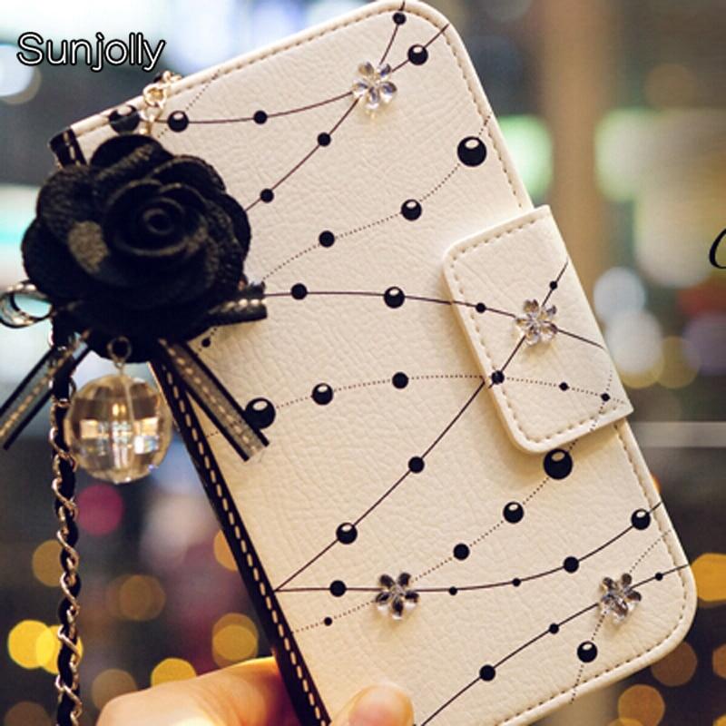 Lanyard Rantai Debu plug Kristal Bunga Kulit Kasus Flip Card Slot - Aksesori dan suku cadang ponsel - Foto 1