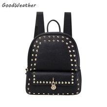 Дизайнер заклепки женщины рюкзак высокое качество PU кожаный colleage сумки мода черный леди молния сумки девушки школьные рюкзаки