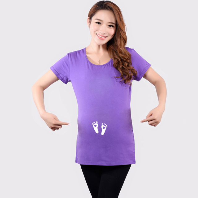 38d0b6678f7c8 NEW funny maternity tops pregnancy t shirts cotton pregnant tees with  footprint short sleeve cute maternity clothes for women