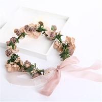 Flower Headpiece Bridal Wedding Crown Flower Headband OOAK Headwear for Maternity Mother Photography Props Hair Accessories