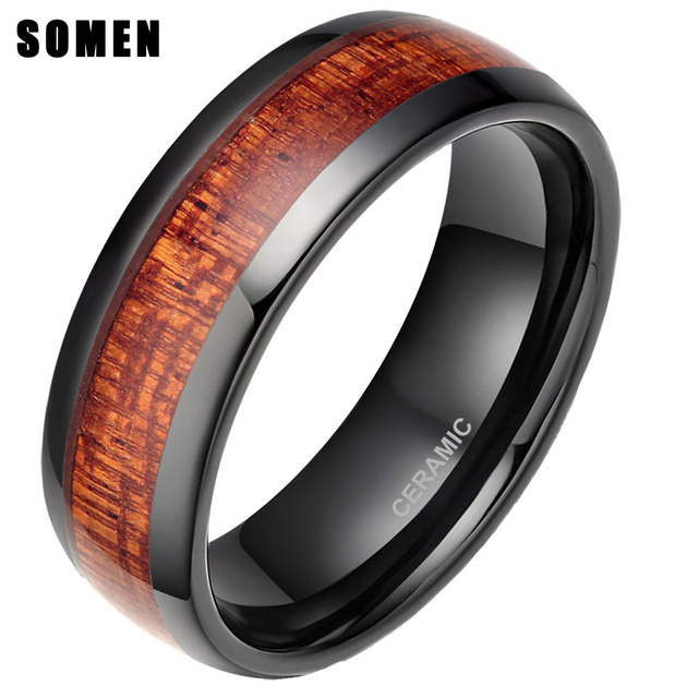 Captivating 8mm Menu0027s Black Ceramic Ring Wood Inlay Polished Mahogany Male Wedding Rings  Comfort Fit Engagement Bague