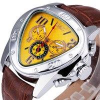 WINNER Racing Design Men Auto Mechanical Watch Triangle Working Sub Dials Genuine Leather WINNER Top Brand