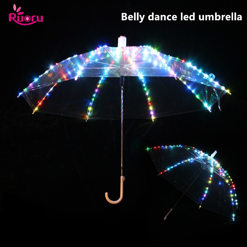 Ruoru Led-Umbrella Belly-Dance-Accessories Performance-Prop with Rechargeable Plug Flashing