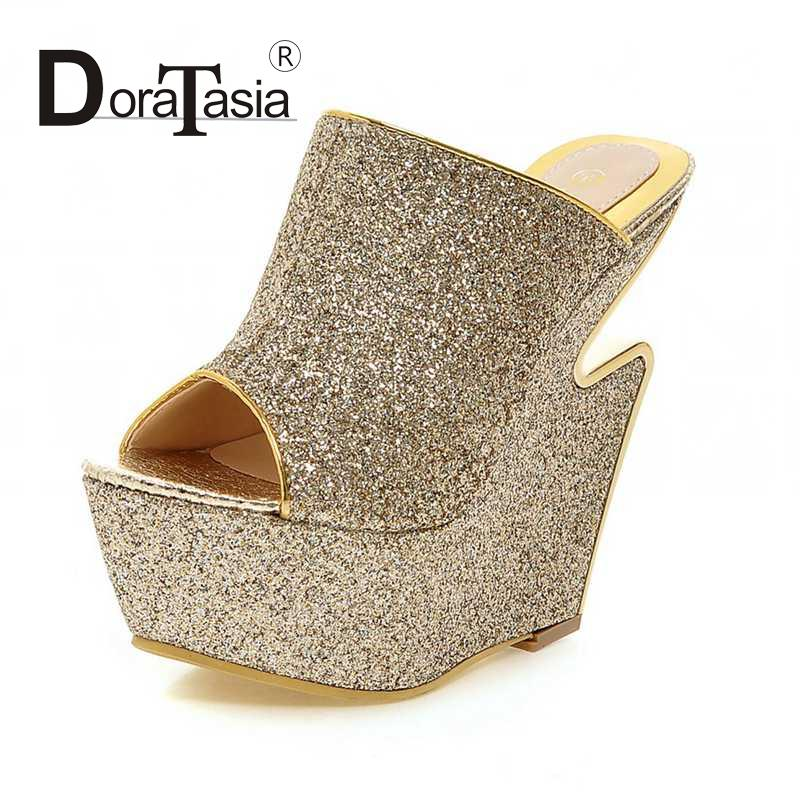 top quality popular glitter wedges high heels shoes gold silver summer platform slides 2016 queen style party nightclub sandals bling patent leather oxfords 2017 wedges gold silver platform shoes woman casual creepers pink high heels high quality hds59