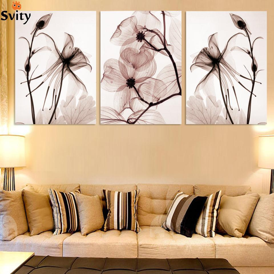 ⓪3 Pcs Hot Sell Flowers Wall Art Picture Modern Home Decoration ...