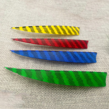 20 Pcs Archery Arrow Feather 4 Colors 5 Inch Striped  Bamboo Wood Hunting