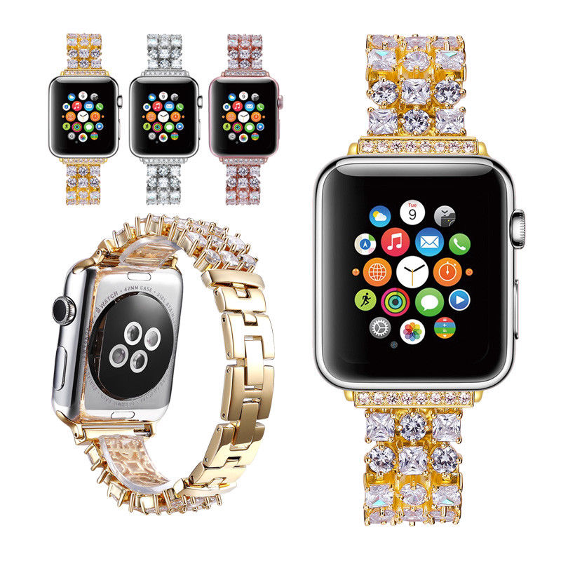 Luxury Bling Diamond Strap for Apple Watch Series 3/2/1 Band Stainless Steel Link Bracelet for iWatch 1/2 38mm 42mm WatchbandsLuxury Bling Diamond Strap for Apple Watch Series 3/2/1 Band Stainless Steel Link Bracelet for iWatch 1/2 38mm 42mm Watchbands
