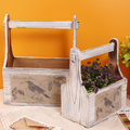 2pcs Retro Wood Home Office Storage Baskets Box Creative Household Supplies Practical