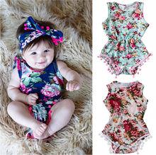2016 Kids Newborn Toddler Baby Girls Floral Romper Jumpsuit Sunsuit Children Clothes Set