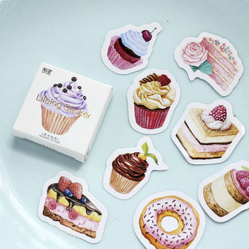 45 pcs/lot Happy birthday mini Cake cup paper sticker Decoration Diy Scrapbooking Sticker Stationery kawaii label stickers 50pcs box sweet heart cake paper sticker decoration stickers diy ablum diary scrapbooking label sticker kawaii stationery