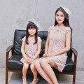 2016 summer new European cheongsam encaje Familia equipado Muchacha Europea Vestido A Juego de la Familia de Madre E Hija Ropa