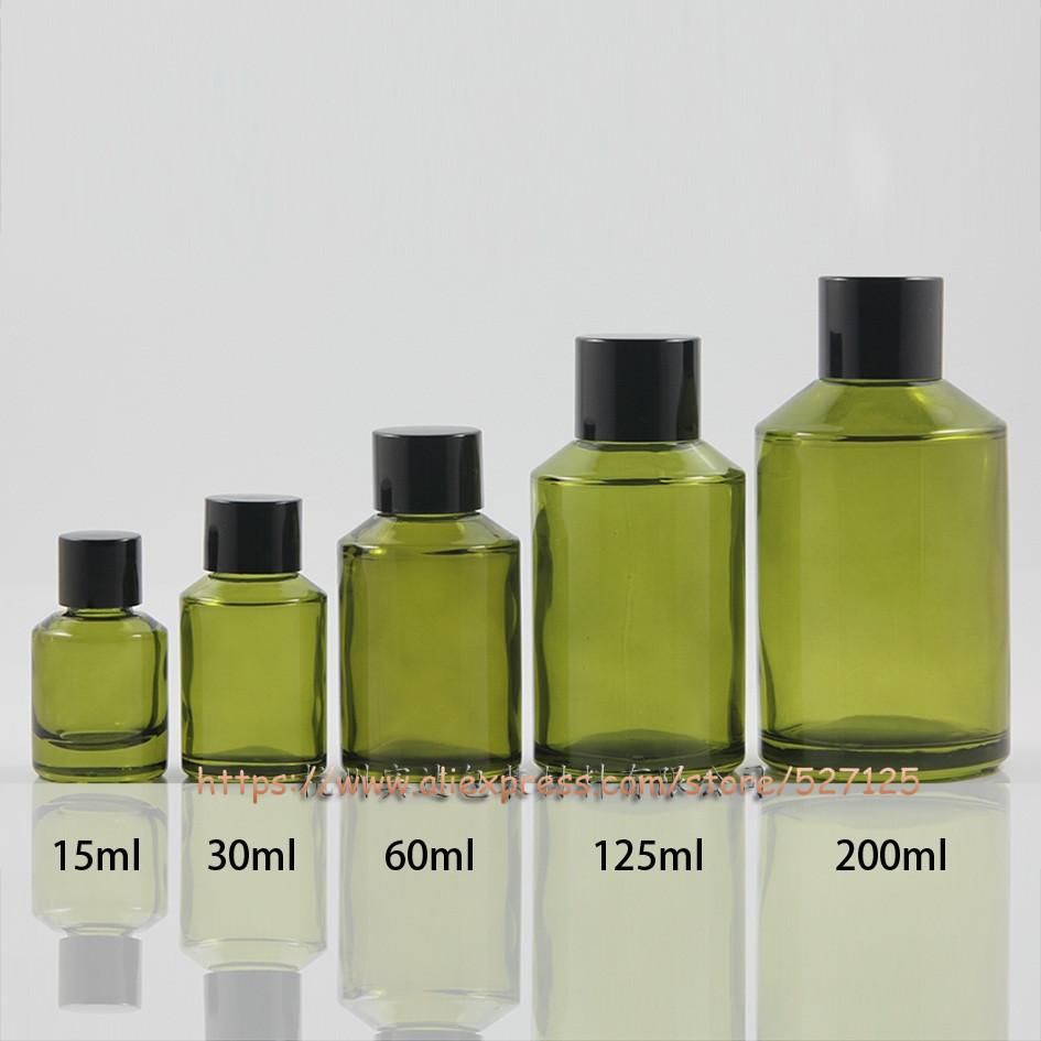 15ml 30ml 60ml 125ml 200ml olive green painted glass bottle with lid lotion hand wash Shampoo