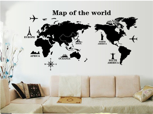 Diy map of the world world map wall sticker poster wallpaper wall diy map of the world world map wall sticker poster wallpaper wall decals living room gumiabroncs Gallery