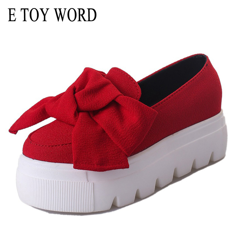 E TOY WORD 2018 Spring Summer new platform loafers shoes women casual Thick bottom buutterfly-knot fashion student flats shoes e toy word canvas shoes women han edition 2017 spring cowboy increased thick soles casual shoes female side zip jeans blue 35 40