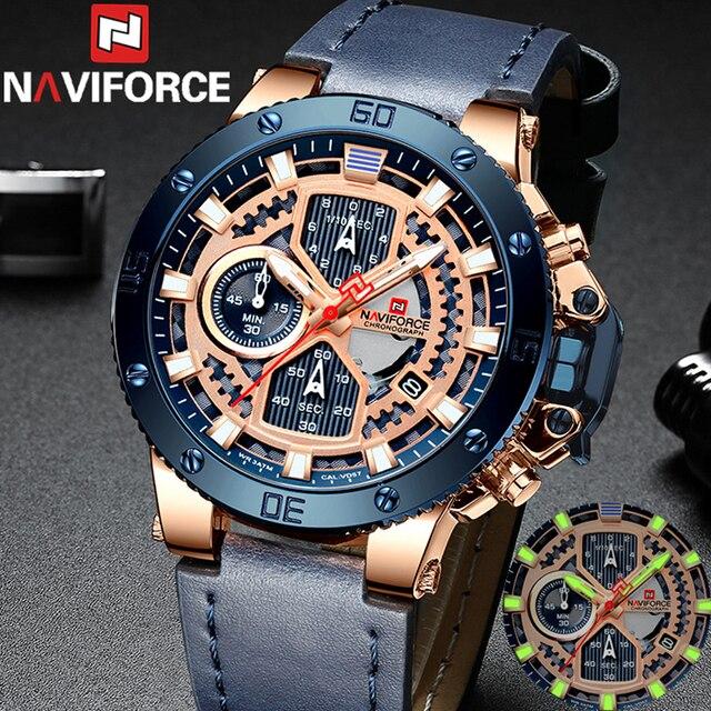 ساعة رجالية من Relogio Masculino NAVIFORCE ساعة رجالية ماركة فاخرة رياضية كرونوغراف عسكري ساعة يد جلدية كوارتز ساعة رجالية 9159