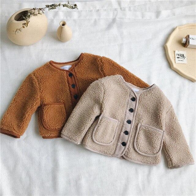 סתיו החורף חדש הגעה קוריאנית גרסה טהור צבע צמר חם אופנה מעובה מעיל עבור חמוד מתוק תינוק בנים ובנות