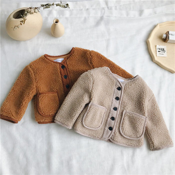 2018 Autumn Winter New Arrival Korean Version pure color woolen warm fashion thickened coat for cute sweet baby girls and boys