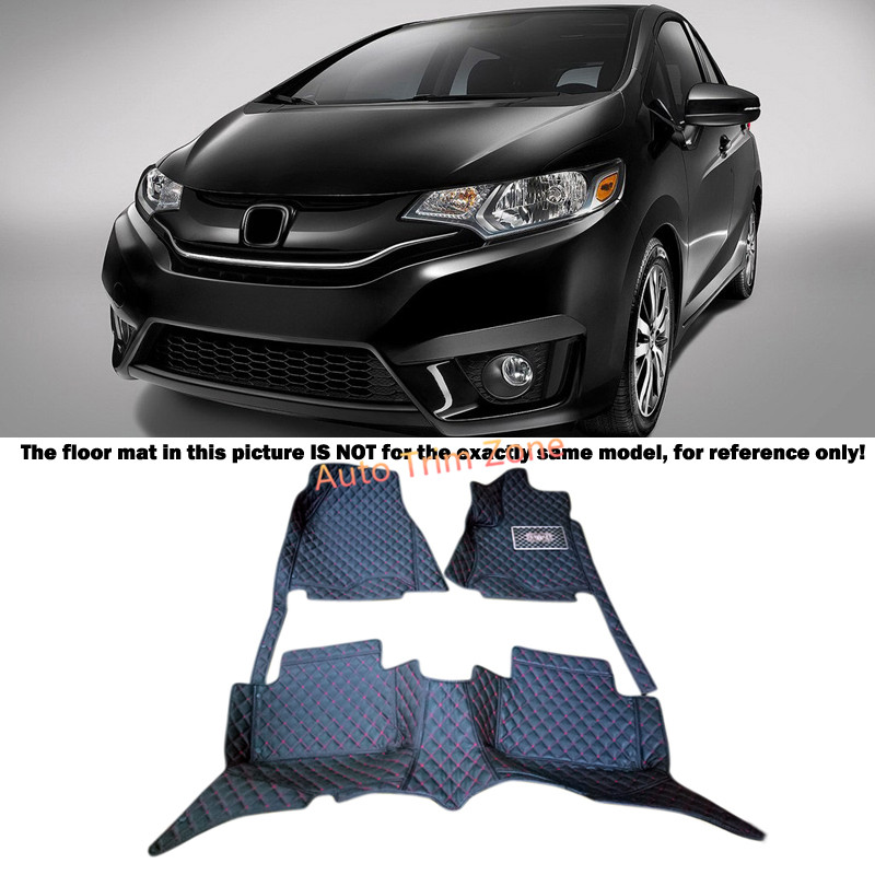 Black Interior Leather Floor Mats & Carpets Foot Pads Protector For Honda Fit Jazz 2014-2016