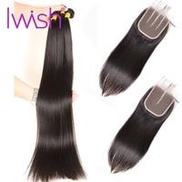 28 30 Inch Bundles With Closure Straight Hair Bundles With Closure 3 4 Bundle Deals With Closure Non Remy Human Hair Weave