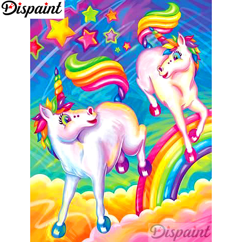Dispaint Full Square Round Drill 5D DIY Diamond Painting quot Cartoon unicorn quot Embroidery Cross Stitch 3D Home Decor A12614 in Diamond Painting Cross Stitch from Home amp Garden
