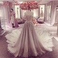 Luxury Real Lace Floral Vestidos de Casamento 2017 com Trem Catedral vestidos de Noiva com Meia Manga vestido de noiva renda W239