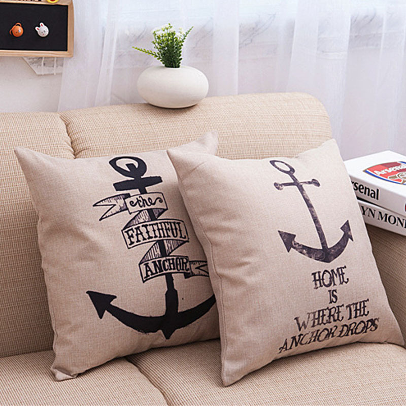 Nordic Style Anchor Cushion Cover Pillow Case Cotton Linen Sea Boat Sailing Map Seaman Throw Cushion Case Sofa Decor Pillowcase