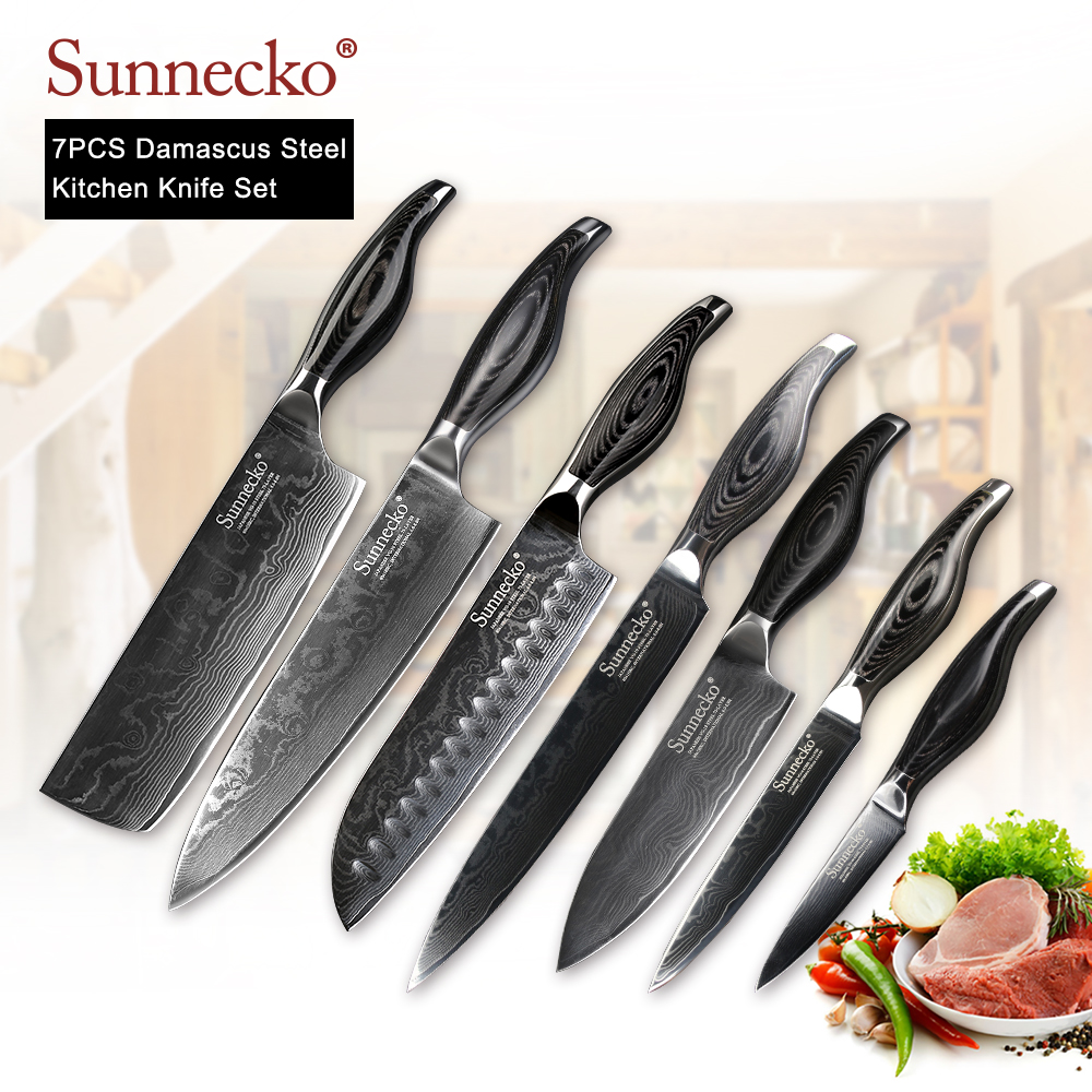 SUNNECKO 7 pcs Cuisine Couteaux Set Utility Chef Cleaver Couteau Damas VG10 Acier Lame Tranchante Outils De Coupe Bois Pakka Poignée cadeau