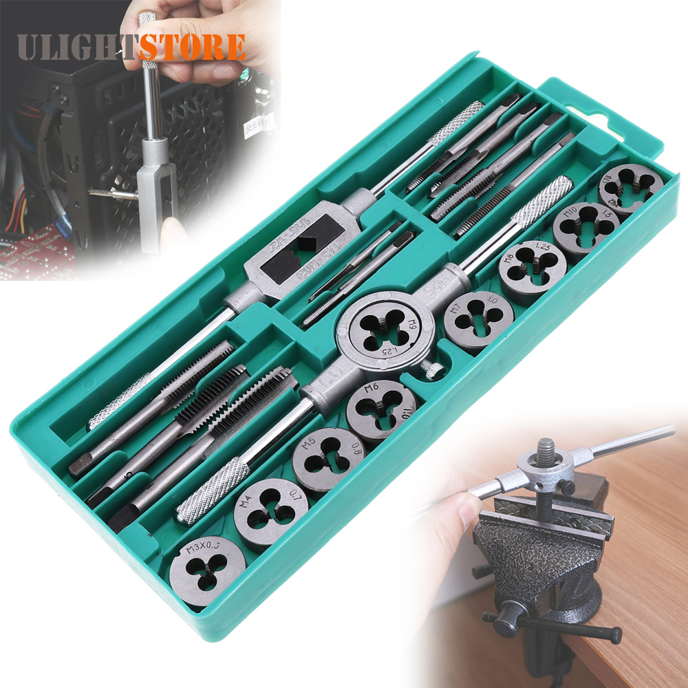 20pcs Tap Die Set 1/16 - 1/2 Inch NC Screw Thread Plugs Taps Wrench Alloy Steel Hand Screw Taps Cutting Adjusting Tools