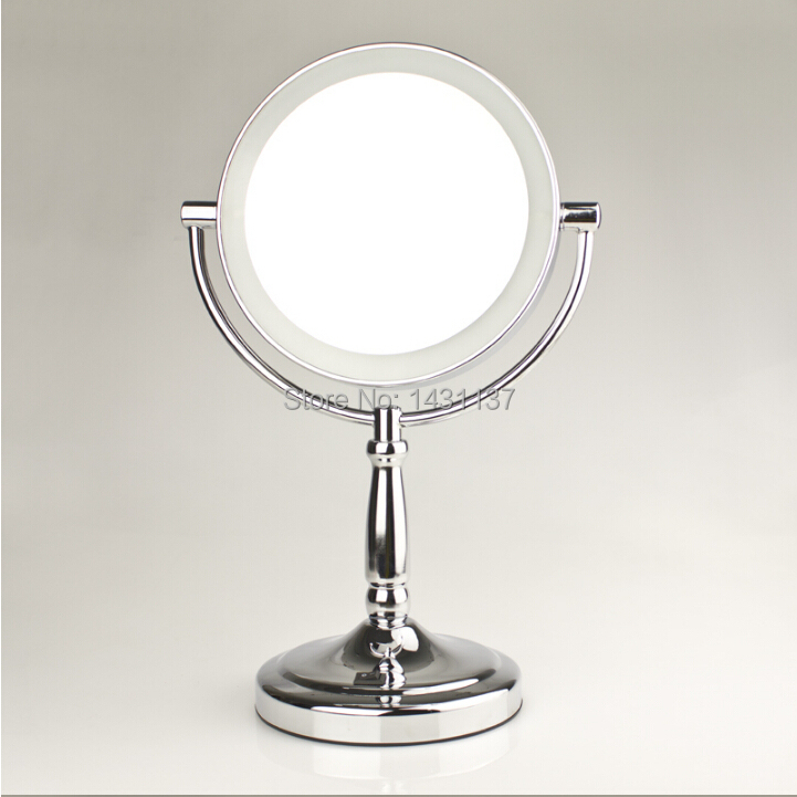 Fashion brass material bathroom dressing magnifying mirror brass material retractable double faced mirror LED light historical sticker dolly dressing 1940s fashion