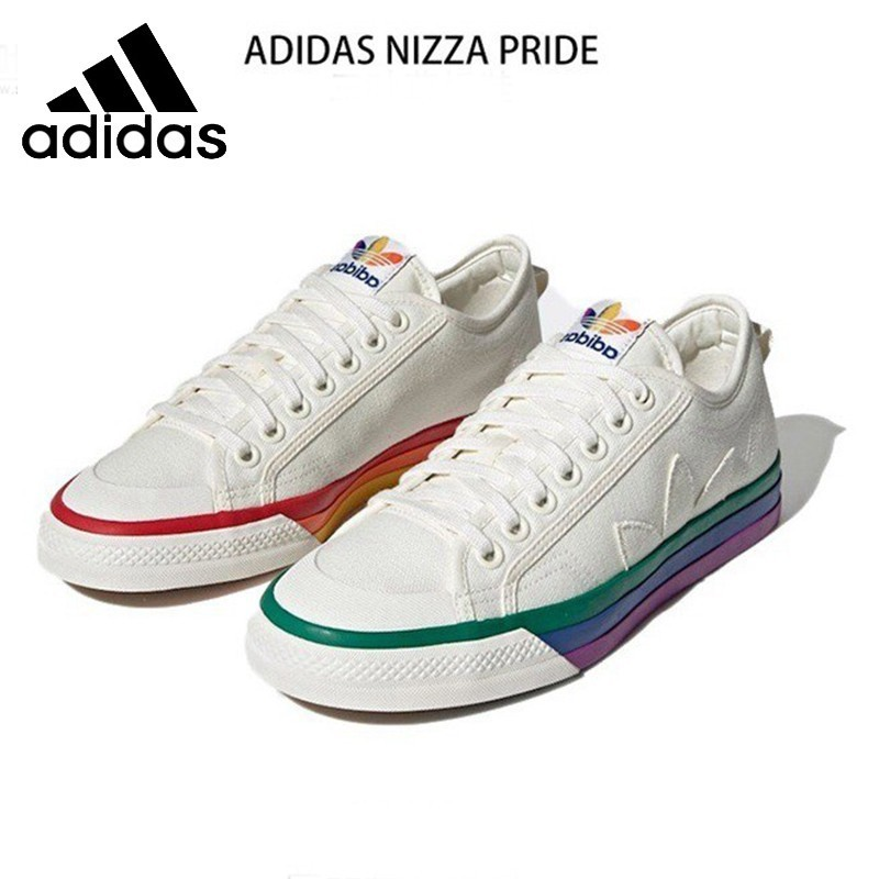 Adidas NIZZA Men Skateboarding Shoes Rainbow Canvas Shoes Hard-Wearing Comfortable Sneakers Women #EF2319
