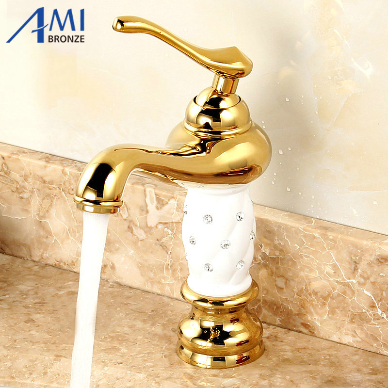 ФОТО Gold Polished Bathroom Basin Faucet White Paint Faucets Mixer Basin Tap