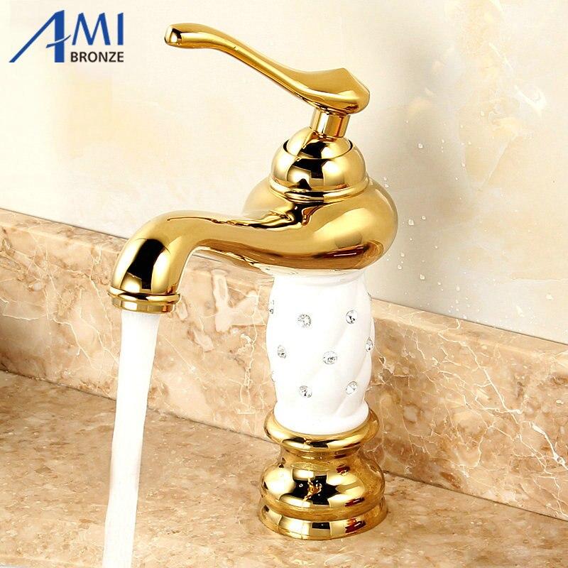Robinet de lavabo de salle de bain poli or robinets de peinture blanche mitigeur de lavabo
