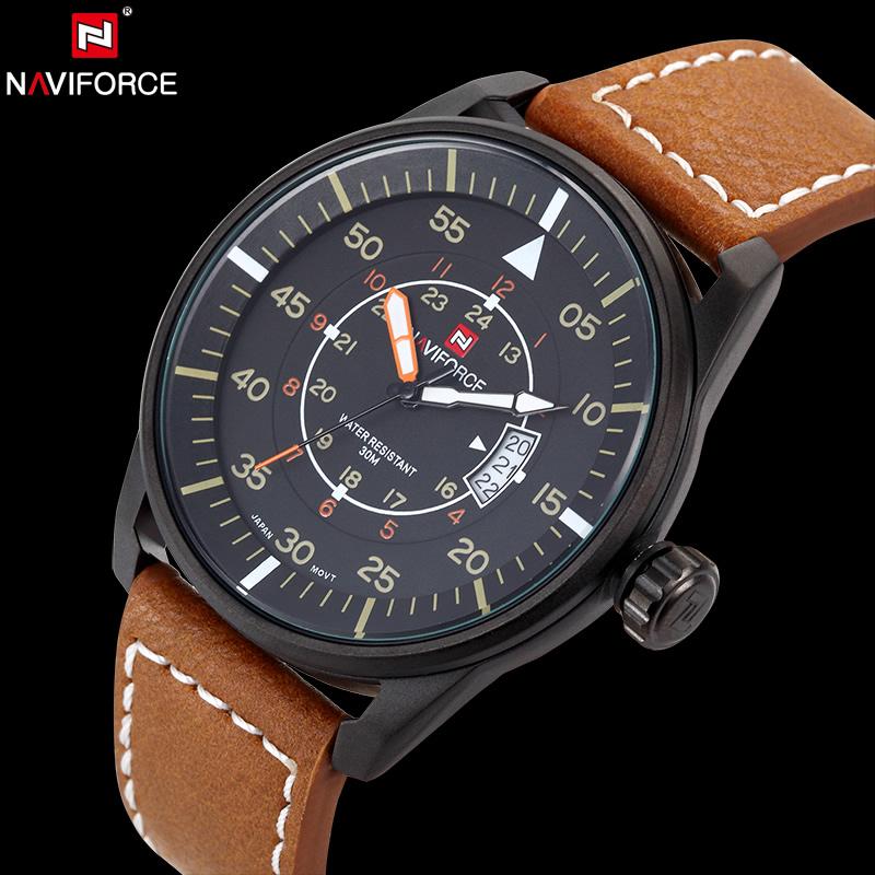 Prix pour NAVIFORCE D'origine De Luxe Marque Casual Sport Quartz Hommes En Cuir Armée Militaire Montre-Bracelet Calendrier Horloge relogio masculino