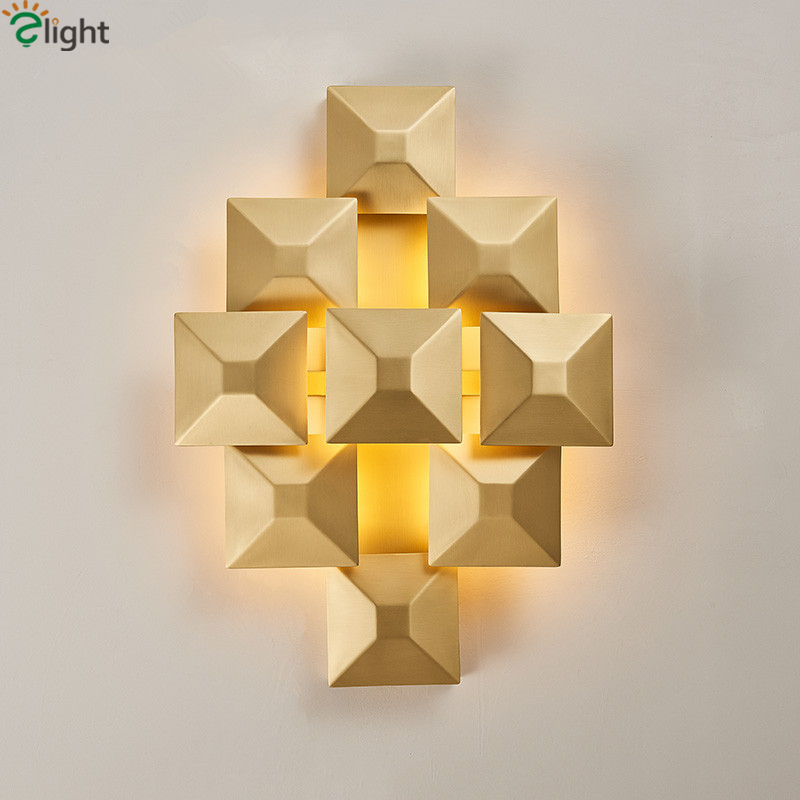 Post Modern Square Metal Led Wall Lamp Lustre Luminarie Led Indoor Lighting Fixtures For Bedside Irregular Wall Lamp